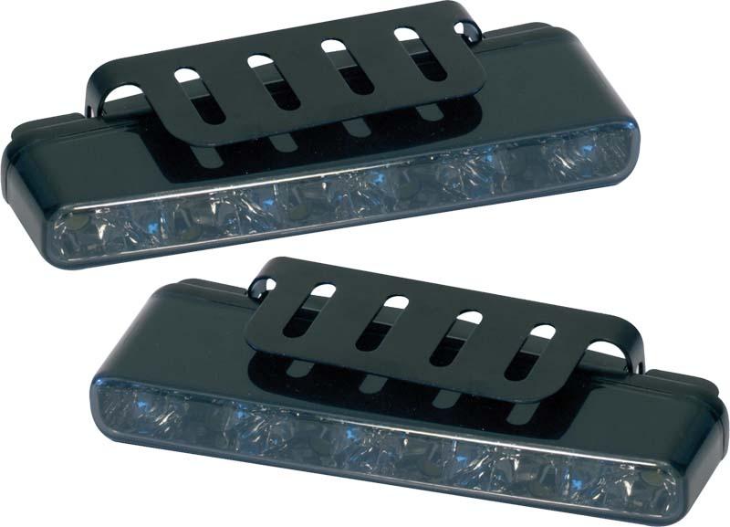 LED světla pro denní svícení, 160x25mm, kouřová skla, ECE