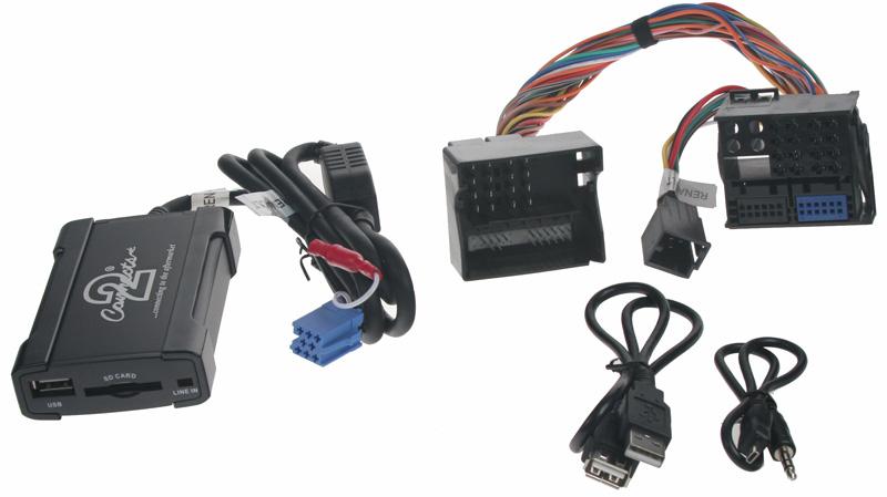 Adaptér pro ovládání USB zařízení OEM rádiem Renault Megane 2008-/AUX vstup