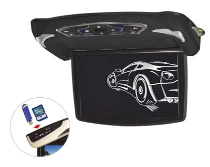 "Stropní monitor 13,3"" šedý s DVD/SD/USB + výměnný kryt černý"