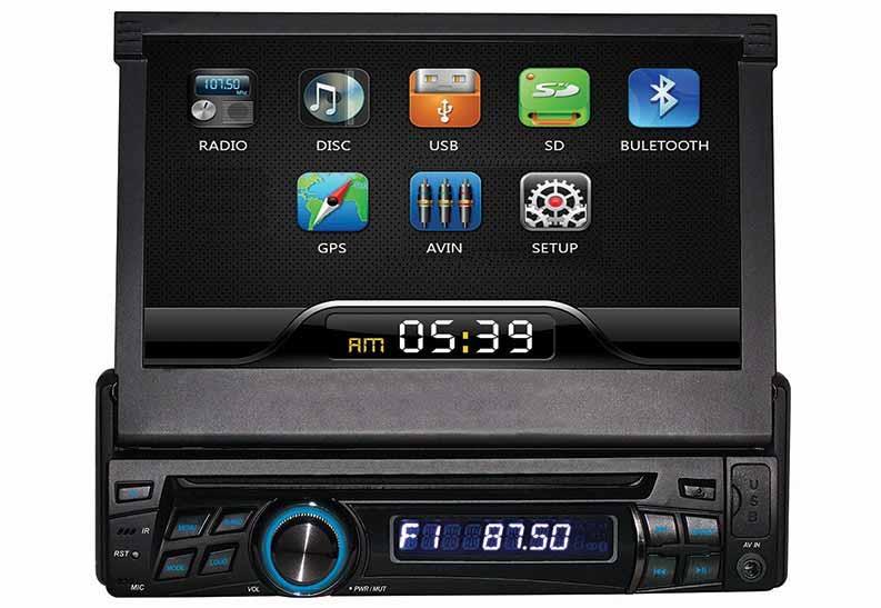 """1DIN DVD autorádio s výsuvným 7"""" LCD, bluetooth, SD/USB/FM/DUAL-GPS/RDS/ČESKÉ MENU"""