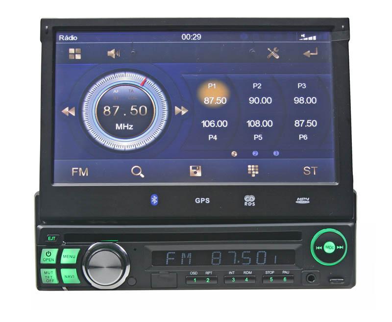 """1DIN DVD autorádio s výsuvným 7"""" LCD, bluetooth,multicolor, SD/USB/FM/DUAL-GPS/RDS/ČESKÉ MENU"""
