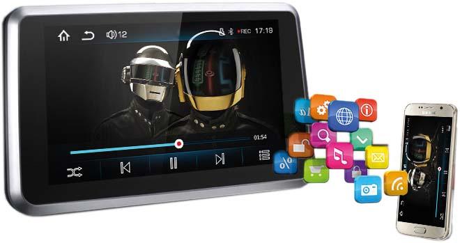 "LCD monitor 7"" s mirror link, DVR, GPS, Bluetooth, HD přehrávač USB/micro SD"