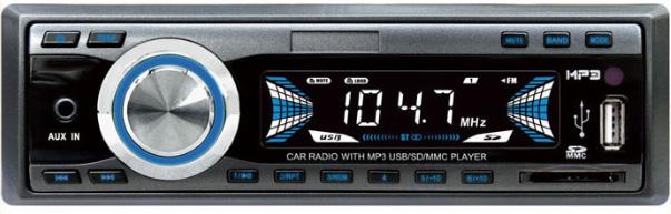 1DIN 12/24V autorádio bez mechaniky USB/SD/AUX, dálkové ovládání