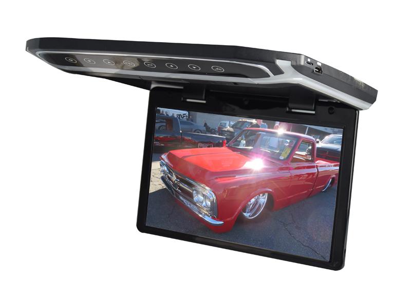 """Stropní LCD monitor 10,1"""" černý s HDMI/microSD, ultra tenký"""
